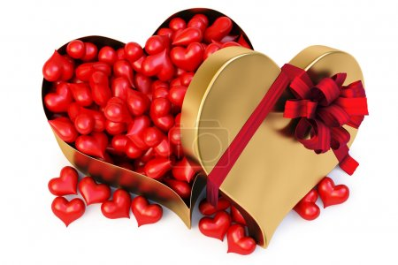 Photo for A lot of red hearts in a large gold heart-shaped gift. isolated on white. with clipping path. - Royalty Free Image
