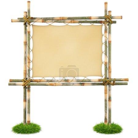 Photo pour Panneau de bambou avec un tissu tendu. isolé sur blanc. avec un tracé de détourage. - image libre de droit