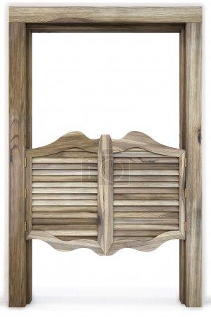 Photo pour Vieux western saloon portes battantes. isolé sur blanc. - image libre de droit