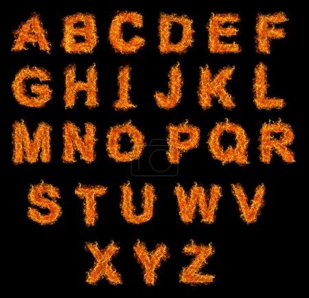 Photo pour Jeu d'alphabet de feu sur fond noir - image libre de droit
