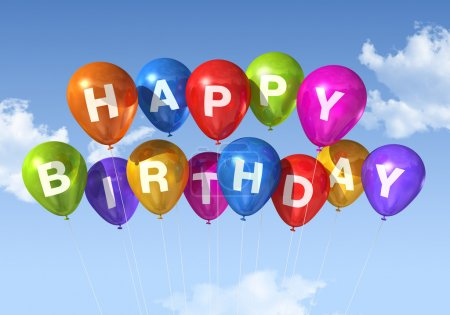 Photo for Colored Happy Birthday balloons in the sky - Royalty Free Image