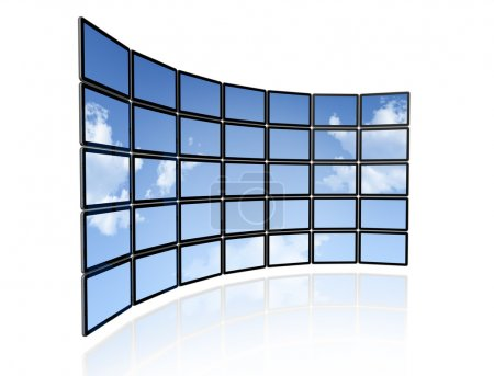 Video wall of flat tv screens