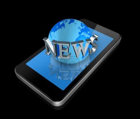 Mobile phone and news world globe