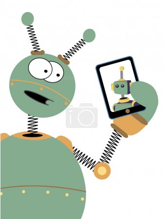 Robot with surprised expression looks at another robot on tablet screen