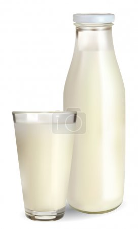 Bottle and a glass of milk
