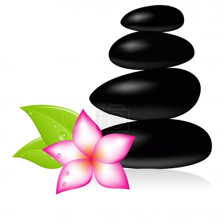 Illustration for Spa stone and pink beautiful flower. Vector illustration. - Royalty Free Image