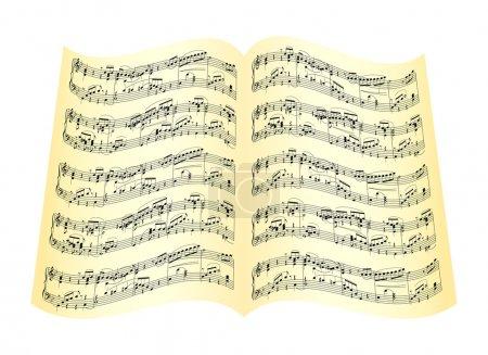 Illustration pour Feuille de note musique ancienne isolé sur fond blanc. illustration vectorielle. - image libre de droit
