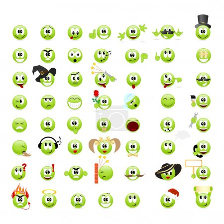 Illustration for Large set of cool smileys. Vector illustration, isolated on a white. - Royalty Free Image