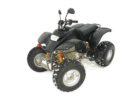 ATV Black All Terrain Vehicle on white snow