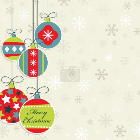 Illustration for Hanging christmas decorations on snowflake background, with clipping mask - Royalty Free Image