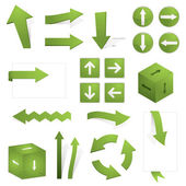 Collection of green directional arrows isolated on white