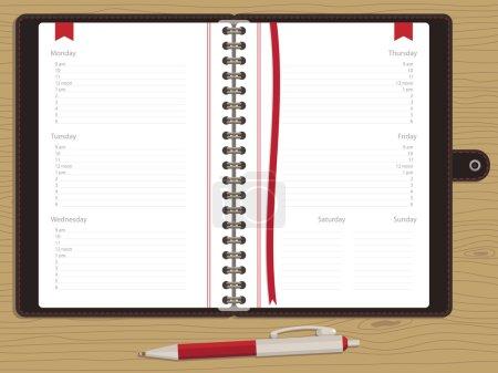 Illustration pour Livre blanc nomination avec les jours de semaine et stylo sur fond de bois - image libre de droit