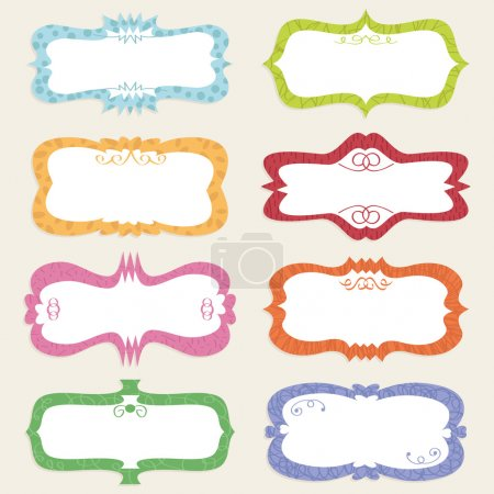 Ilustración de Decorativa etiqueta retro en blanco conjunto lista para texto - Imagen libre de derechos