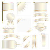 White and yellow gold flags ribbons and banners isolated on white