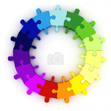 Photo for 3d colorful puzzle chart wheel - Royalty Free Image