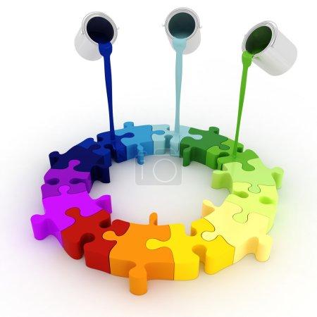 3d paint buckets drop over puzzle pieces