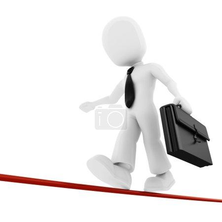 3d man, businessman walking on thin line