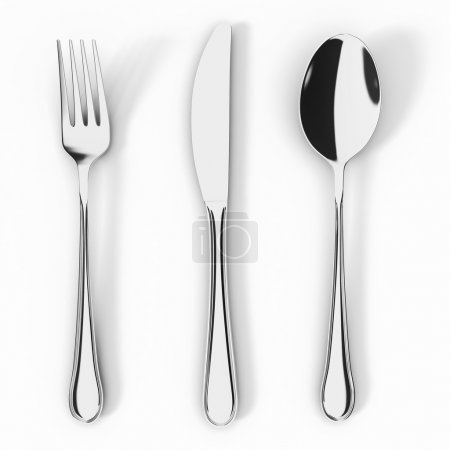 Photo for Fork knife and spoon isolated on white background - Royalty Free Image