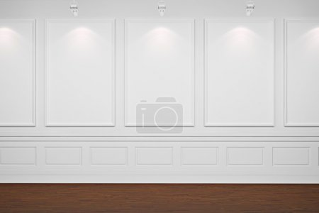 3d blank frames on white walls