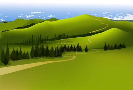Illustration for Vector green landscape with mountains. - Royalty Free Image
