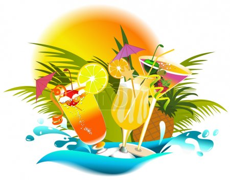 Illustration for Tropical drinks with fruir decorations - Royalty Free Image