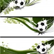 Three abstract football banners - vector image