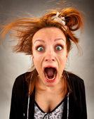 Very surprised screaming housewife