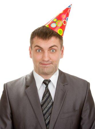 Happy businessman in hat