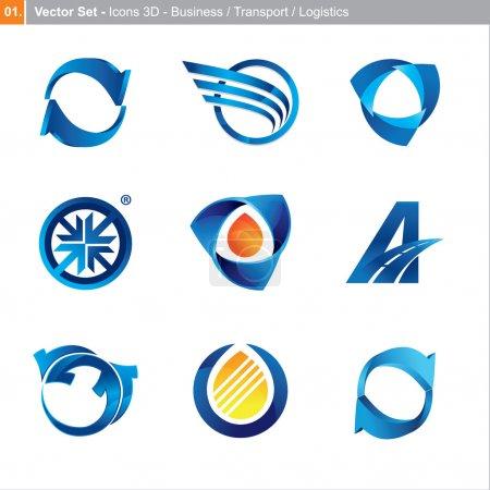 Illustration for 3d icon set for business, transport, logistics - Royalty Free Image