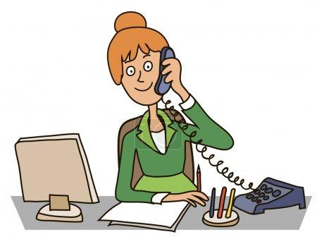 Illustration pour Secrétaire dans le bureau assis à une table parlant au téléphone - image libre de droit
