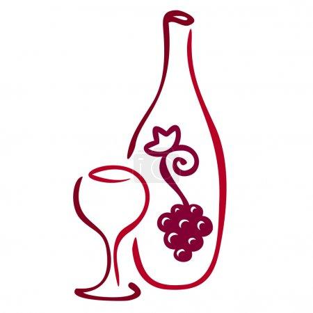 Illustration pour Icône du vin stylisé. Illustration vectorielle - image libre de droit