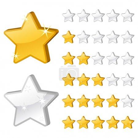 Illustration for Rating stars for web. 3d vector illustration - Royalty Free Image