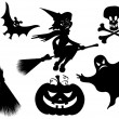 Halloween silhouettes. Witch, pumpkin, witches bro...