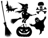 Halloween silhouettes Witch pumpkin witches broom skeleton bat skull and ghost