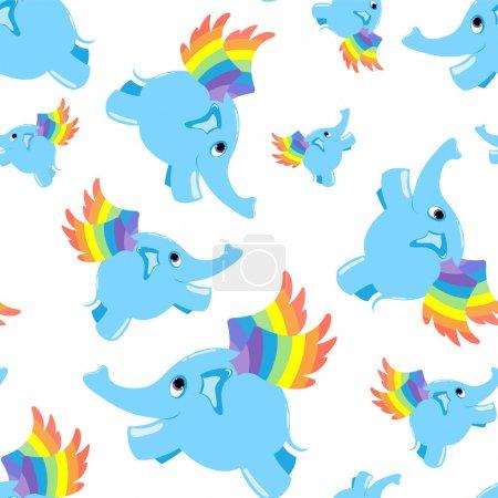 Illustration pour Modèle sans couture éléphant volant bleu. Fond vectoriel . - image libre de droit