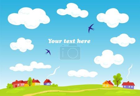 Illustration for Rural landscape. Vector summer background. Illustration for your text. - Royalty Free Image