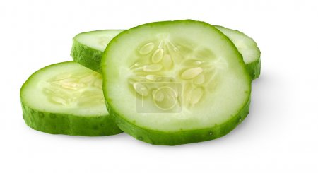 Photo for Slices of cucumber isolated on white - Royalty Free Image