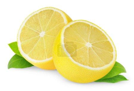 Photo for Halves of lemon isolated on white - Royalty Free Image