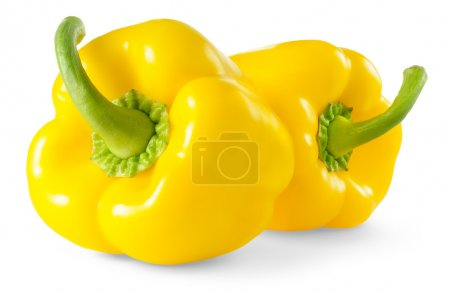Photo for Two yellow bell peppers isolated on white - Royalty Free Image