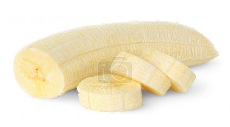 Photo pour Tranches de bananes isolé sur blanc - image libre de droit