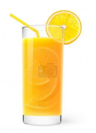 Photo pour Verre de jus d'orange avec des bouts d'orange à l'intérieur - image libre de droit