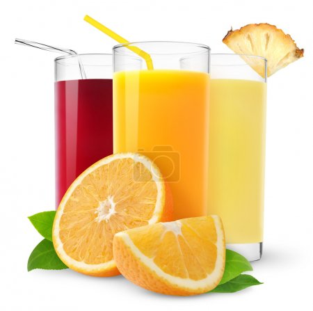 Photo for Glasses of orange, pineapple and cherry juice isolated on white - Royalty Free Image