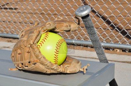 Yellow Softball, Bat, and Glove