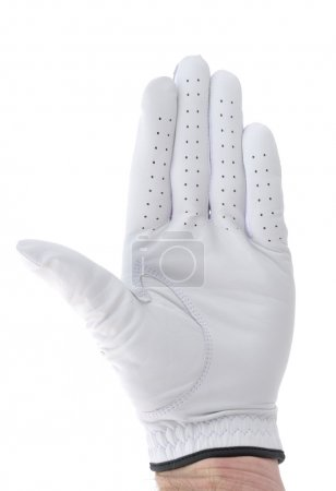 Photo for Golfer Wearing Golf Glove Giving Stop Gesture or Waving - Royalty Free Image