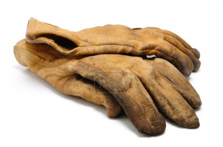 Old Dirty Leather Work Gloves