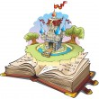 Magic world of tales, fairy castle appearing from the old book, cartoon illustration