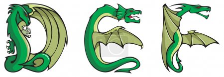 Photo for Series of dragons alphabet, letters D,E,F, fantasy dragon shape font illustration - Royalty Free Image