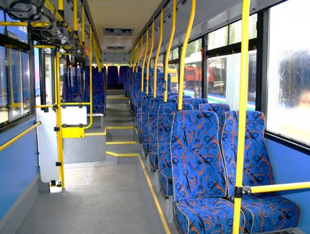 Inside of a city bus