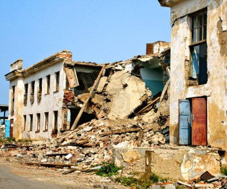 Photo for Destroyed building as an aftereffect of earthquake - Royalty Free Image