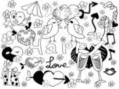 Doodle pozadí Valentine
